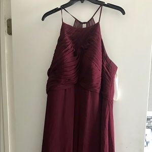 Cabernet Azazie Floor-Length Bridesmaid Dress